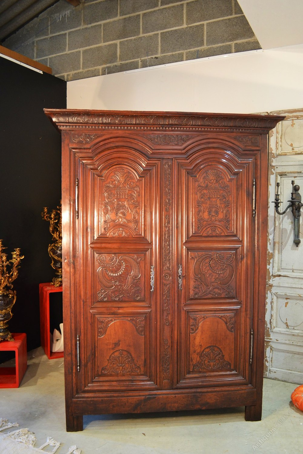 french armoire wardrobe rennaise in cherry antiques atlas. Black Bedroom Furniture Sets. Home Design Ideas