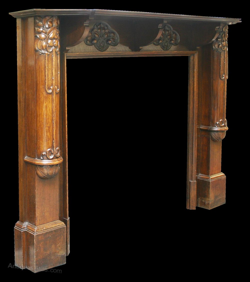 Tree Of Life Fireplace Surround: Unusual Antique Arts & Crafts Oak Fire