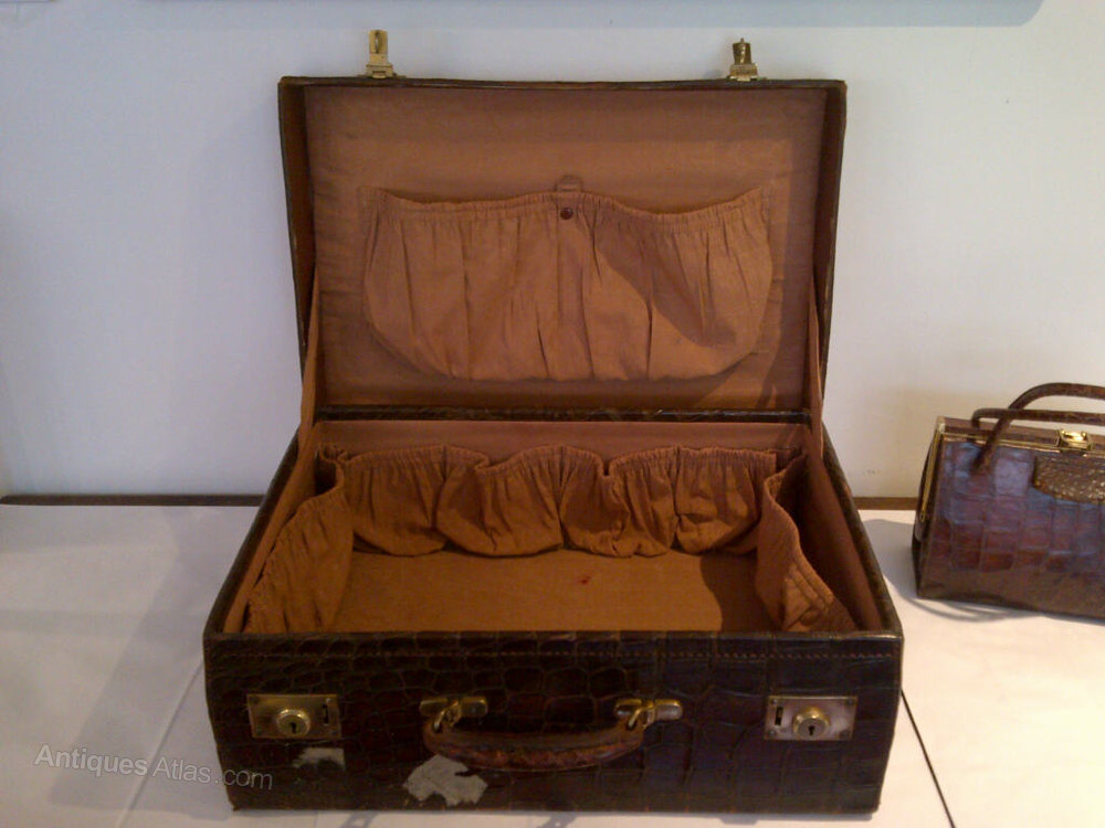 Antiques Atlas - Crocodile Skin Suitcase (Edwardian)