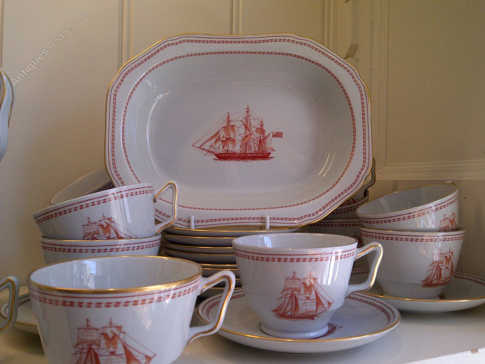 Antiques Atlas Spode Trade Winds Red Dinner Service