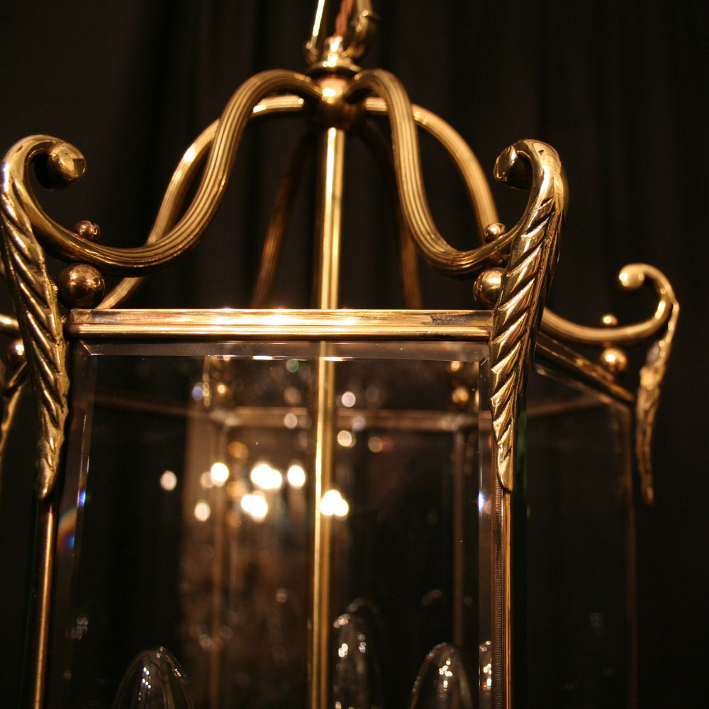 antiques atlas a french brass triple light antique hall lantern. Black Bedroom Furniture Sets. Home Design Ideas