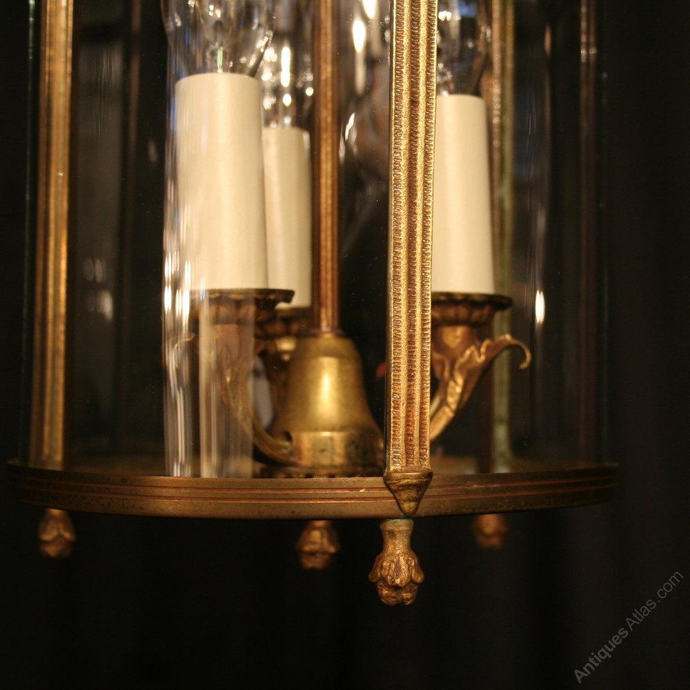 antiques atlas a french bronze triple light antique lantern. Black Bedroom Furniture Sets. Home Design Ideas