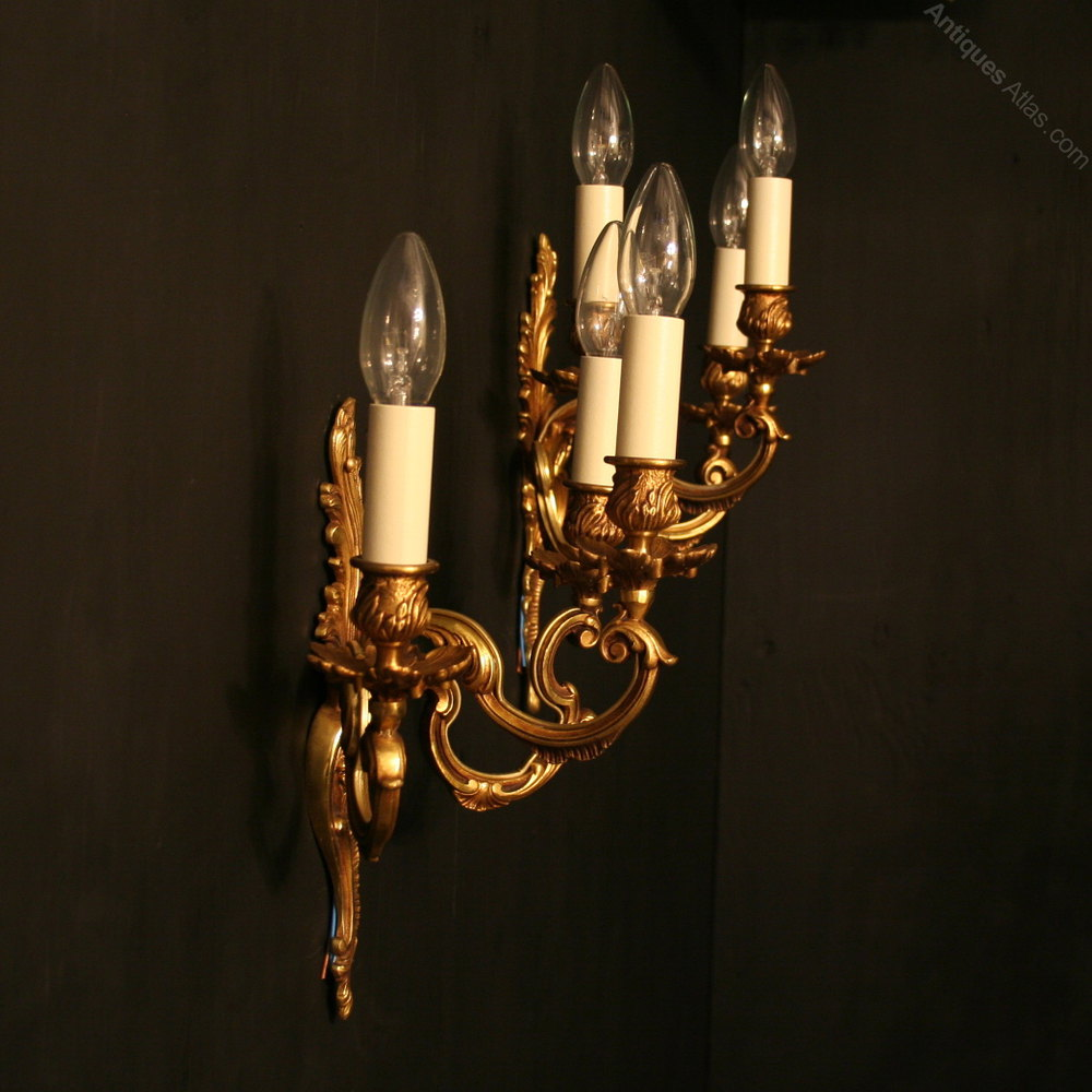 Antiques Atlas - A French Pair Of Gilded Triple Arm Wall Lights