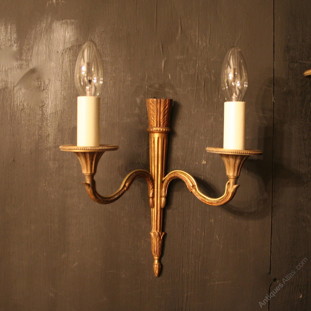 Carolina Twin Wall Lights : Antiques Atlas - A French Pair Of Gilded Twin Arm Wall Lights