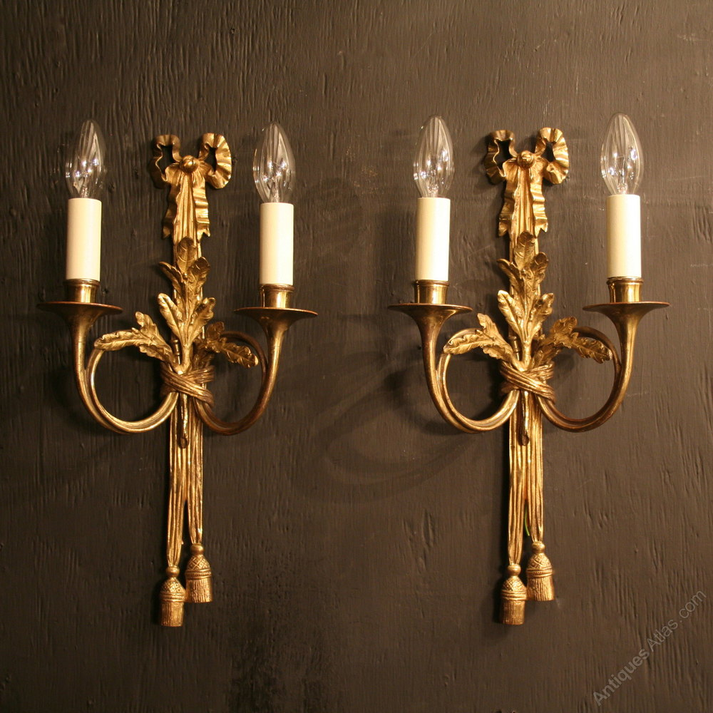 Carolina Twin Wall Lights : Antiques Atlas - A French Pair Of Twin Arm Antique Wall Lights