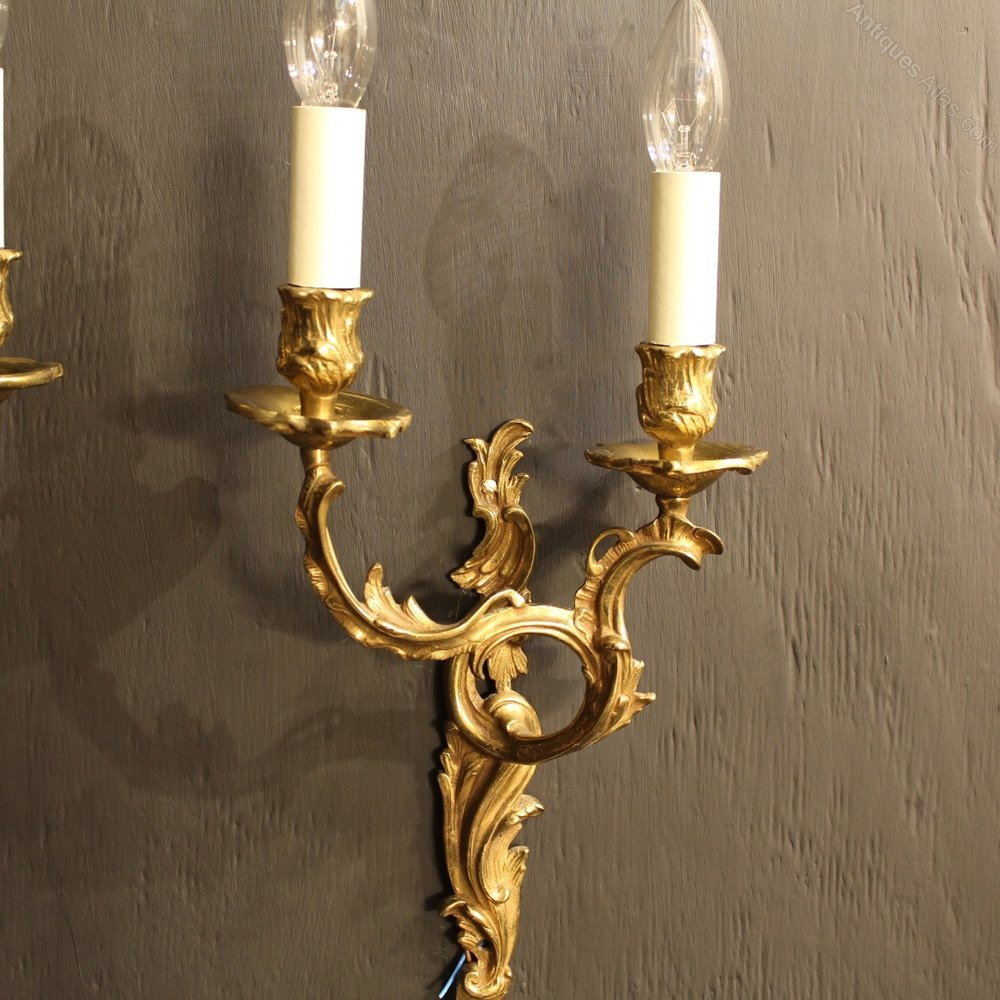 Carolina Twin Wall Lights : Antiques Atlas - A French Pair Of Twin Arm Gilded Wall Lights