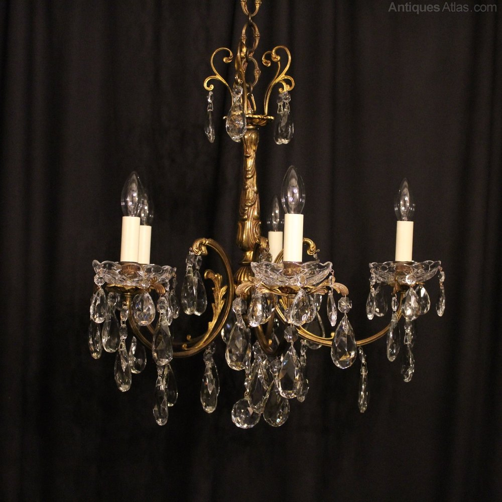 Stunning An Italian Light Gilded Antique Chandelier