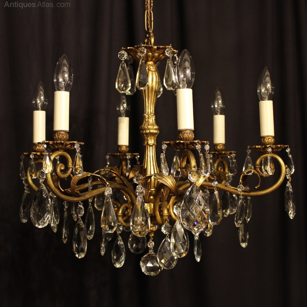 Best An Italian Light Gilded Antique Chandelier