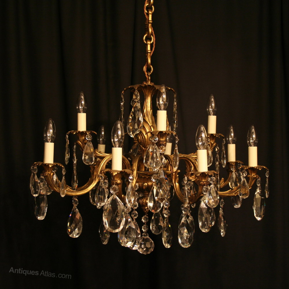 Antiques atlas an italian gilded 12 light antique chandelier an italian gilded 12 light antique chandelier arubaitofo Images
