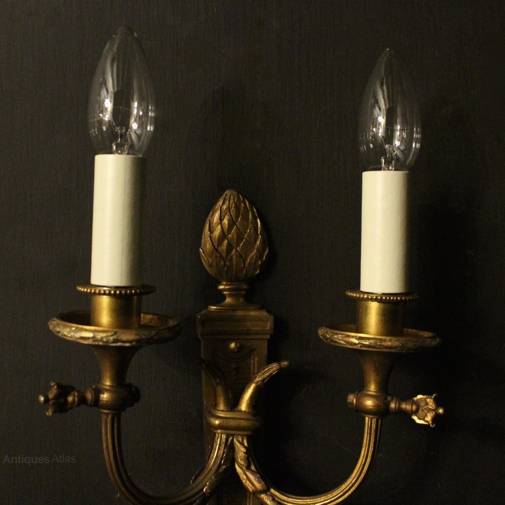 Vintage Reclaimed Wall Lights : Antiques Atlas - French Pair Of Bronze Antique Wall Lights