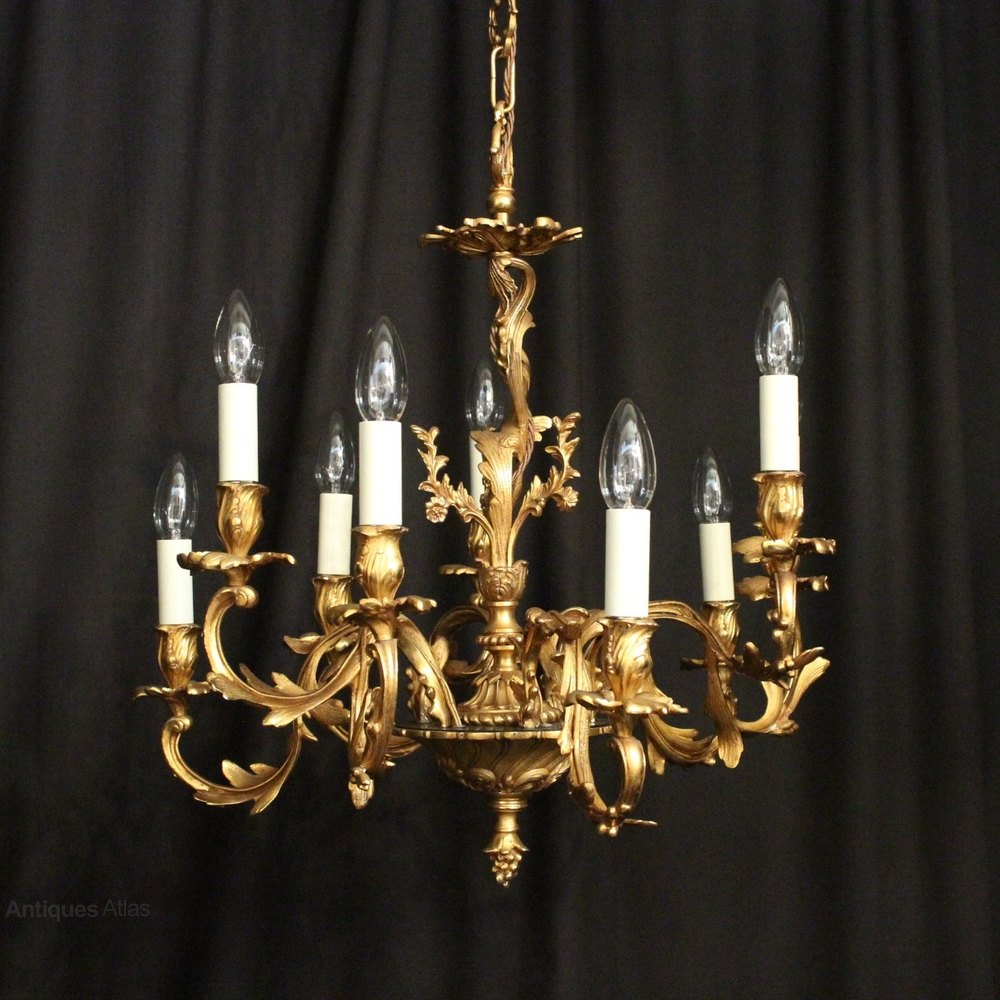 Antiques Atlas Italian Gilded 9 Light Leaf Chandelier