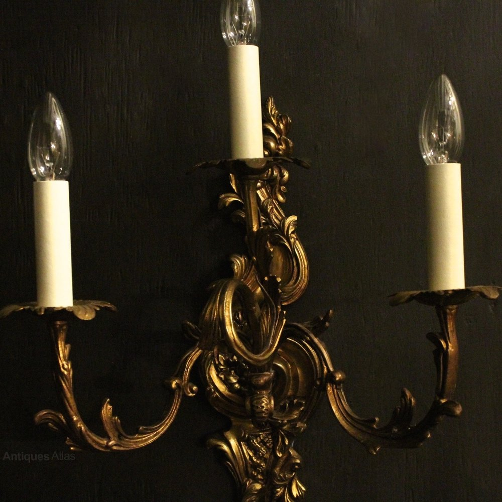 Antiques Atlas - Italian Gilded Triple Arm Antique Wall Lights
