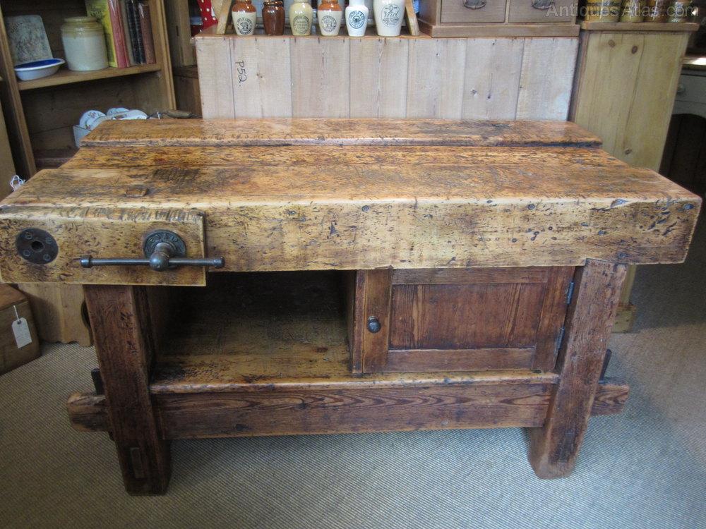 Vintage Wooden Kitchen Island Bench