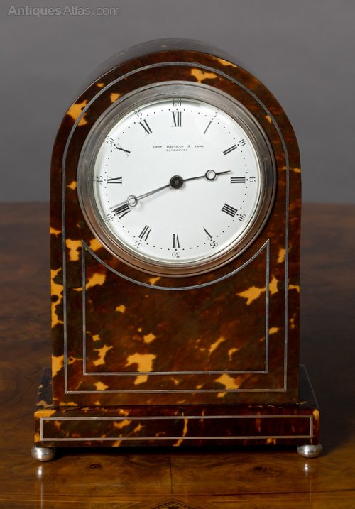 Antiques Atlas - Edwardian Tortoiseshell And Silver Mantel Clock