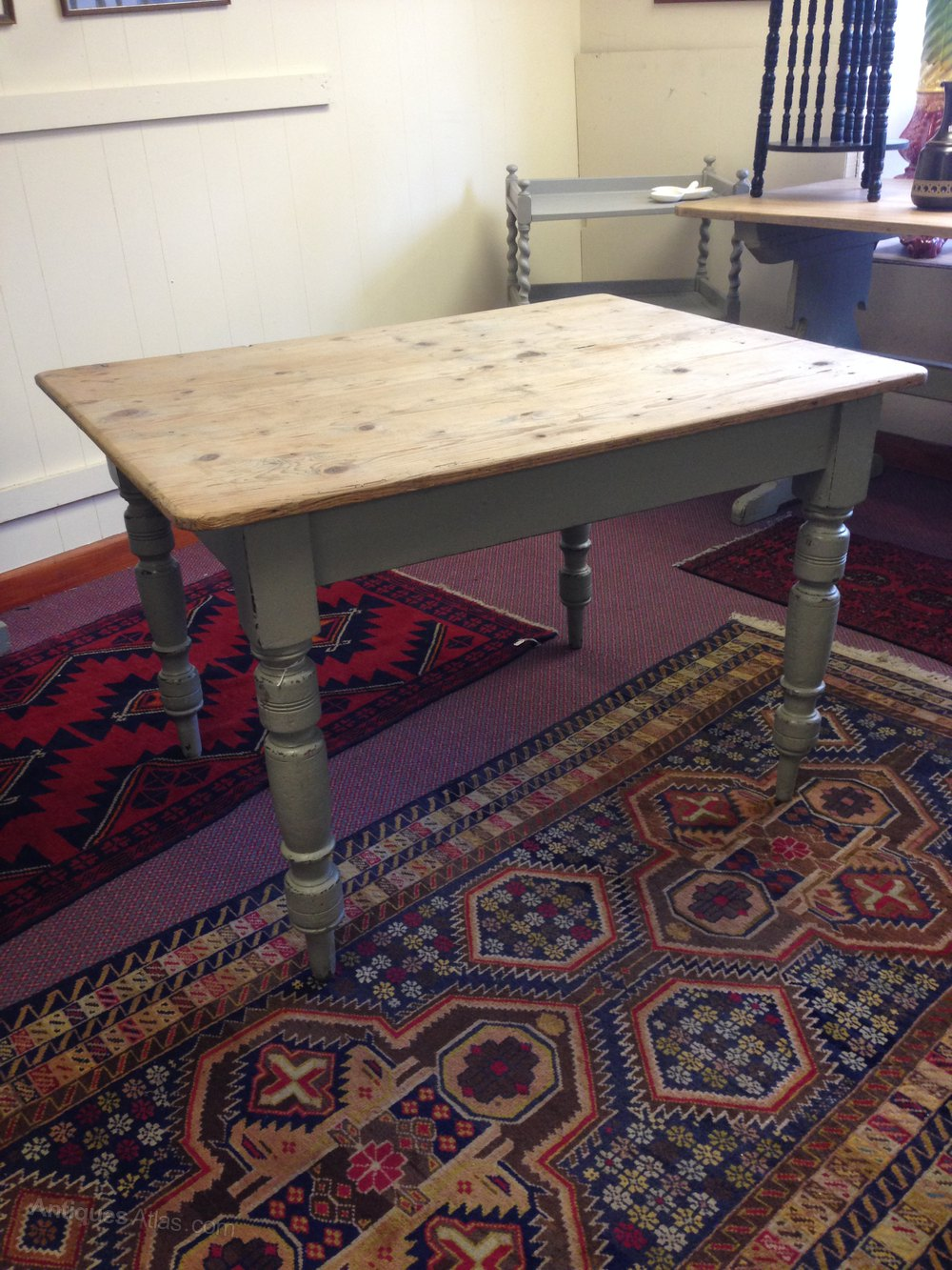 Victorian Painted Pine Scrubbed Top Table Antiques Atlas