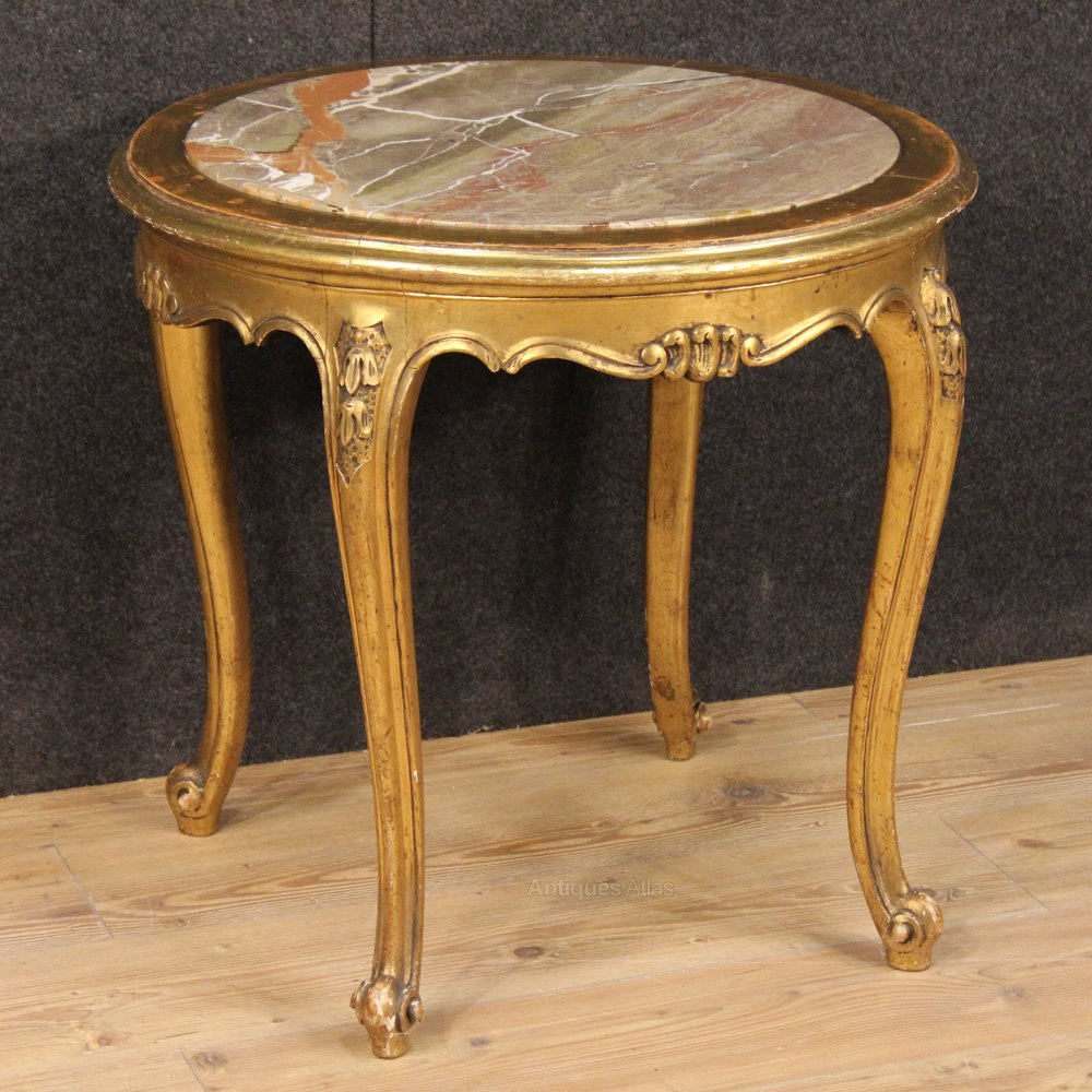 Antique French Marble Top Coffee Table: 20th Century French Coffee Table With