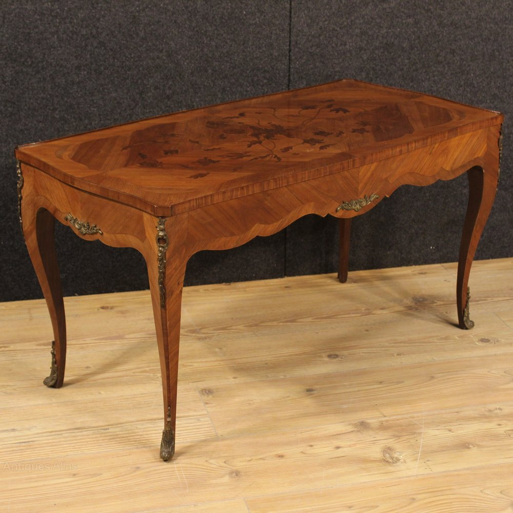 French Victorian Coffee Table: 20th Century French Inlaid Coffee Table