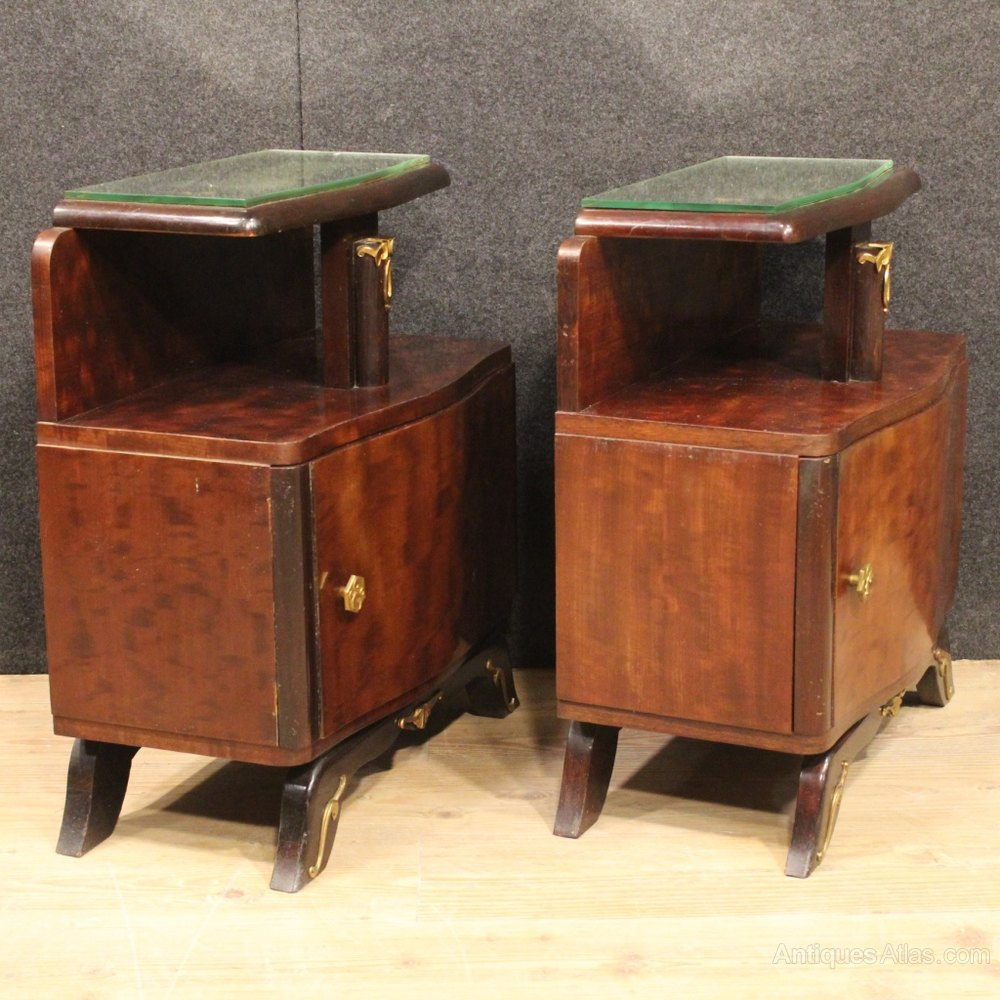 Antiques atlas 20th century pair of french bedside table for Table de nuit art deco