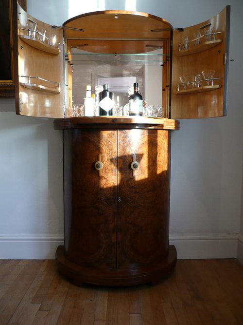 Art deco walunt cocktail cabinet c 1930s antiques atlas for Built in drinks cabinet