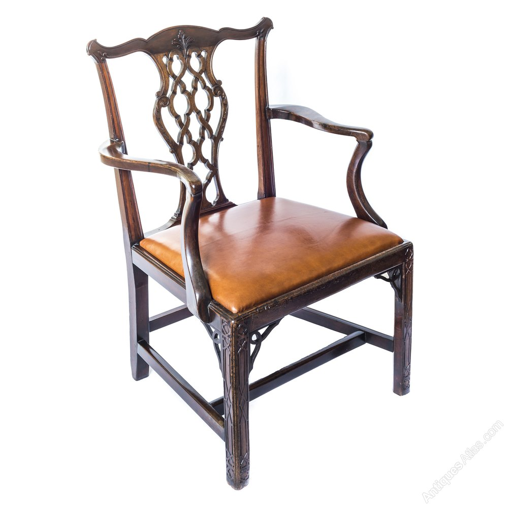 Antique chinese chippendale chair - George Iii Gothic Mahogany Armchair C 1760 Antiques Atlas