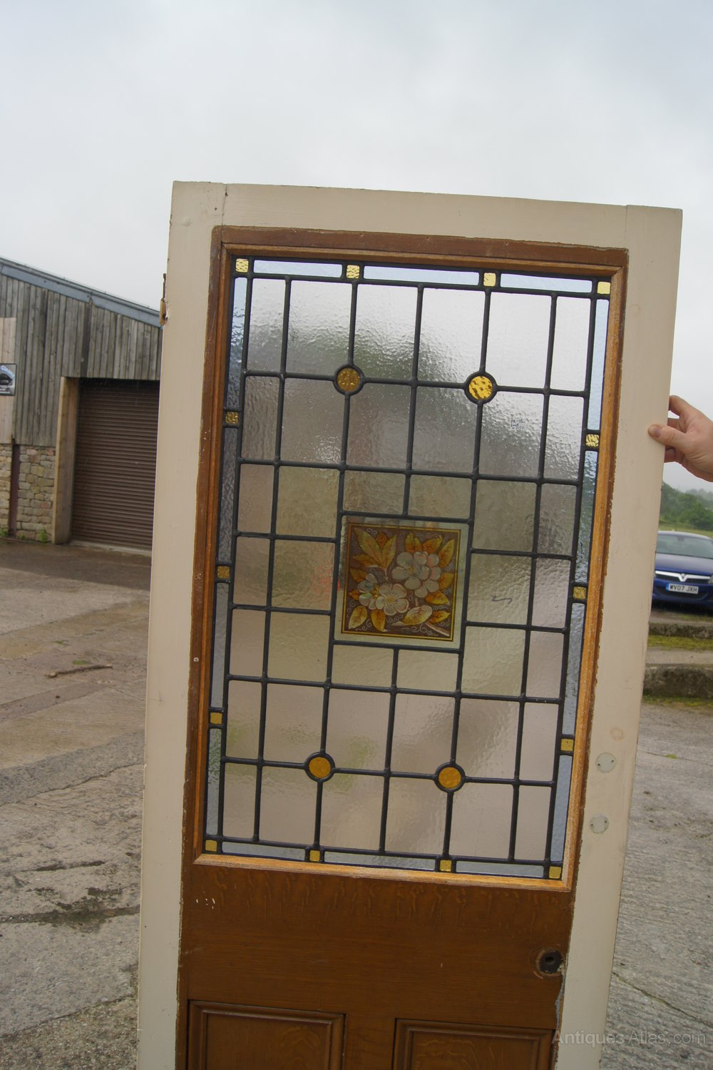 Antiques Atlas Painted And Leaded Glass Door