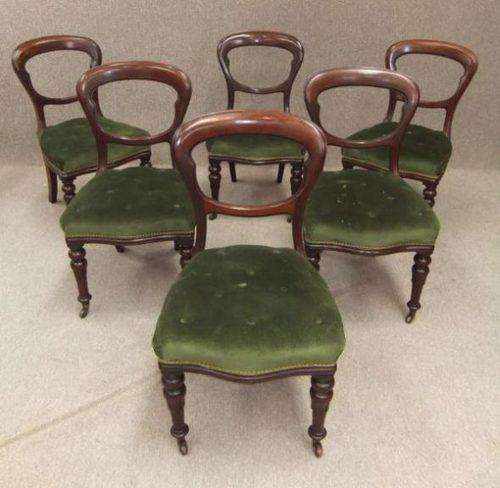 6 Mahogany balloon back chairs ... - 6 Mahogany Balloon Back Chairs - Antiques Atlas