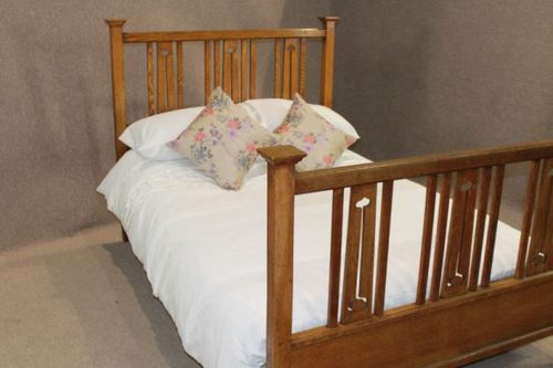 Arts And Crafts Oak Double Bed