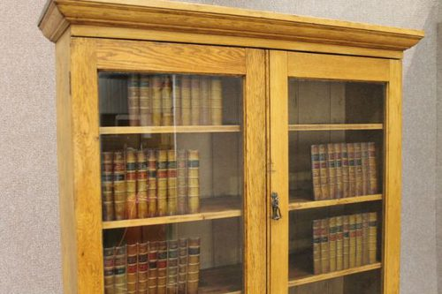 Edwardian Oak Bookcase Kitchen Cupboard Antique On