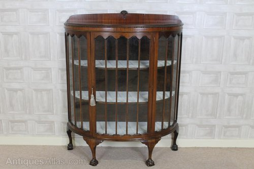 Edwardian Bow Fronted China Cabinet - Antiques Atlas