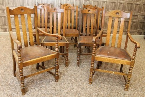 Set Of 10 Edwardian Oak Dining Chairs