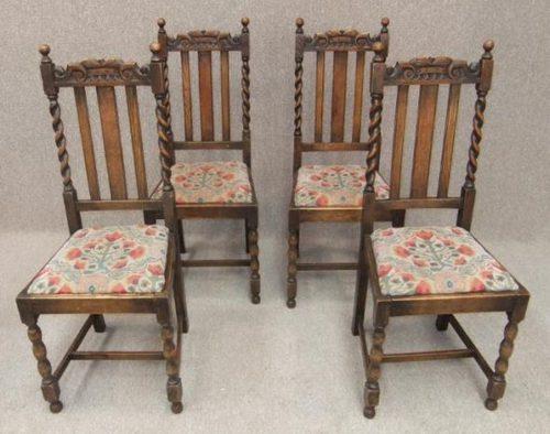 Set of 4 oak barley twist Edwardian dining chairs ... - Set Of 4 Oak Barley Twist Edwardian Dining Chairs - Antiques Atlas