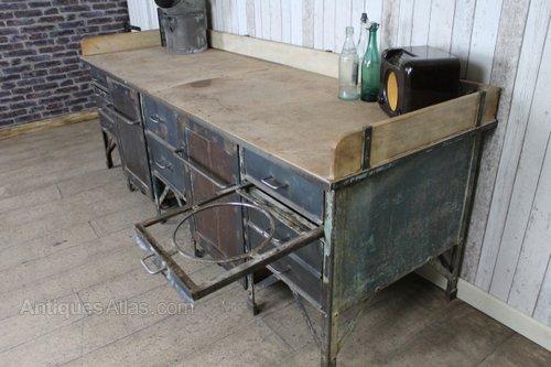 Vintage Industrial Metal Bakers Table Sideboard Antiques