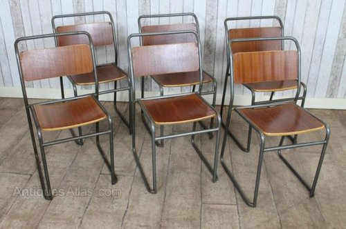 antique vintage stacking school chairs with dark steel