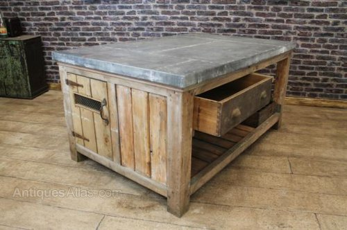 Zinc Top Kitchen Island Vintage Work Stations And Workbenches