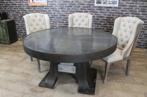 Zinc Top Round Dining Table Vintage ... - Antiques Atlas - Zinc Top Round Dining Table Vintage