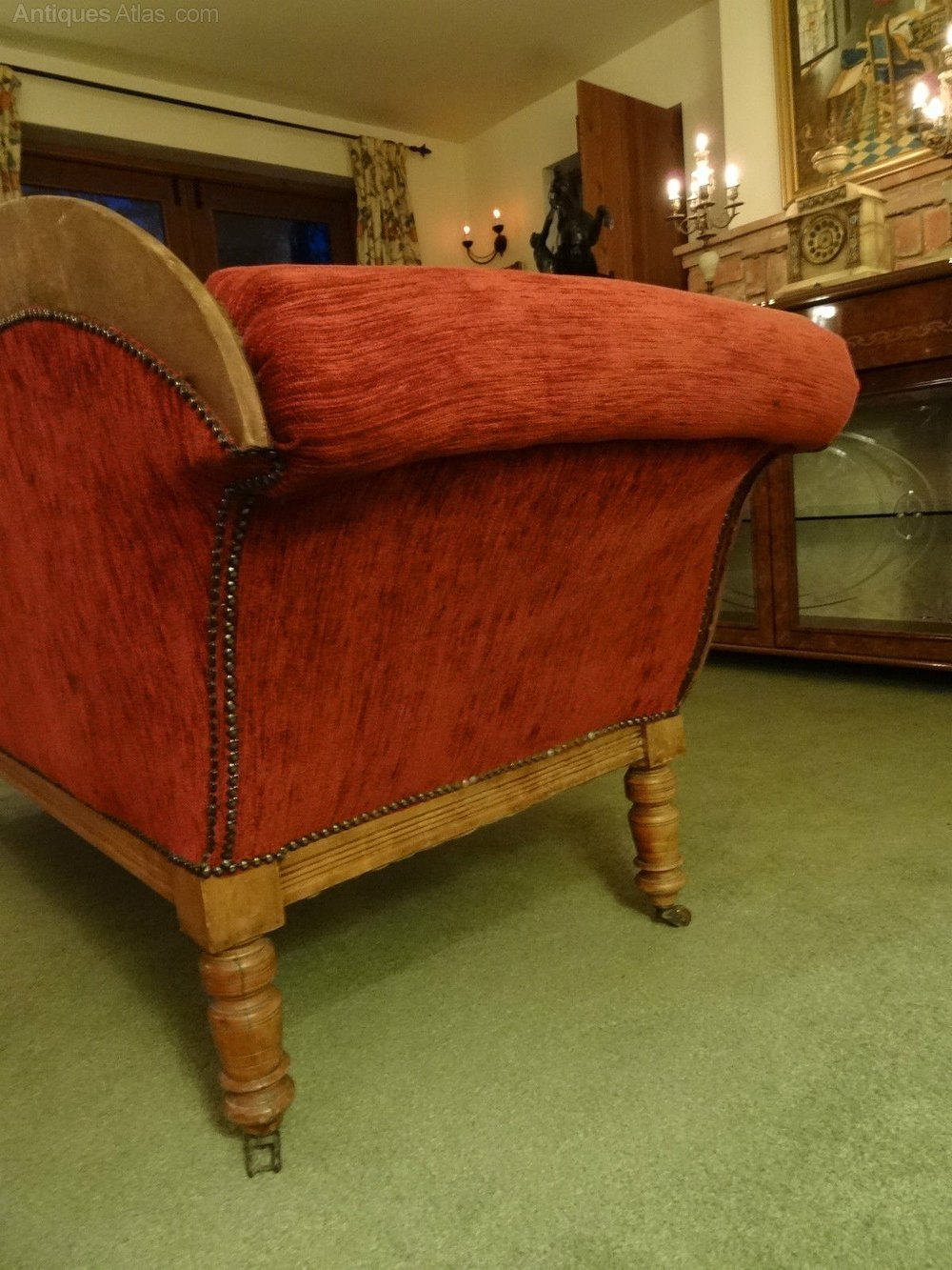 Victorian regency red upholstered chaise lounge antiques for Antique chaise lounge