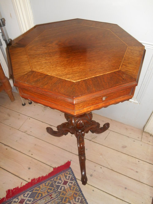 antique victorian rosewood sewing table antiques atlas. Black Bedroom Furniture Sets. Home Design Ideas