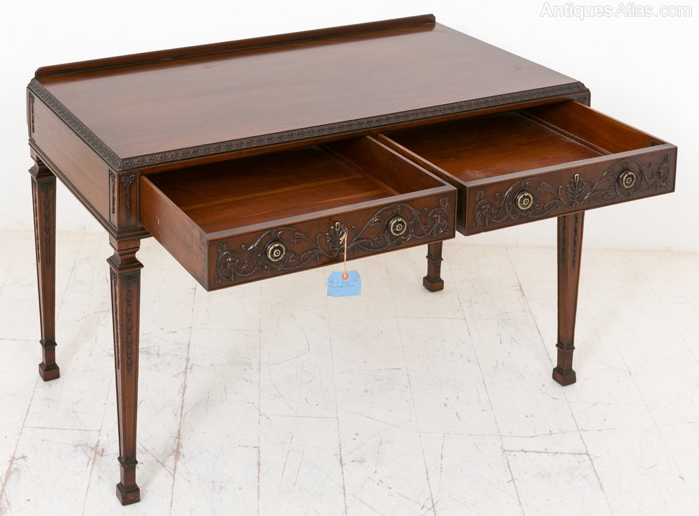 Mahogany 2 drawer side table antiques atlas for Large side table with drawers