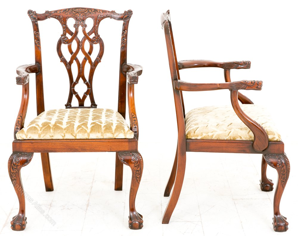 Antiques Atlas - Pair Of Chippendale Style Arm Chairs