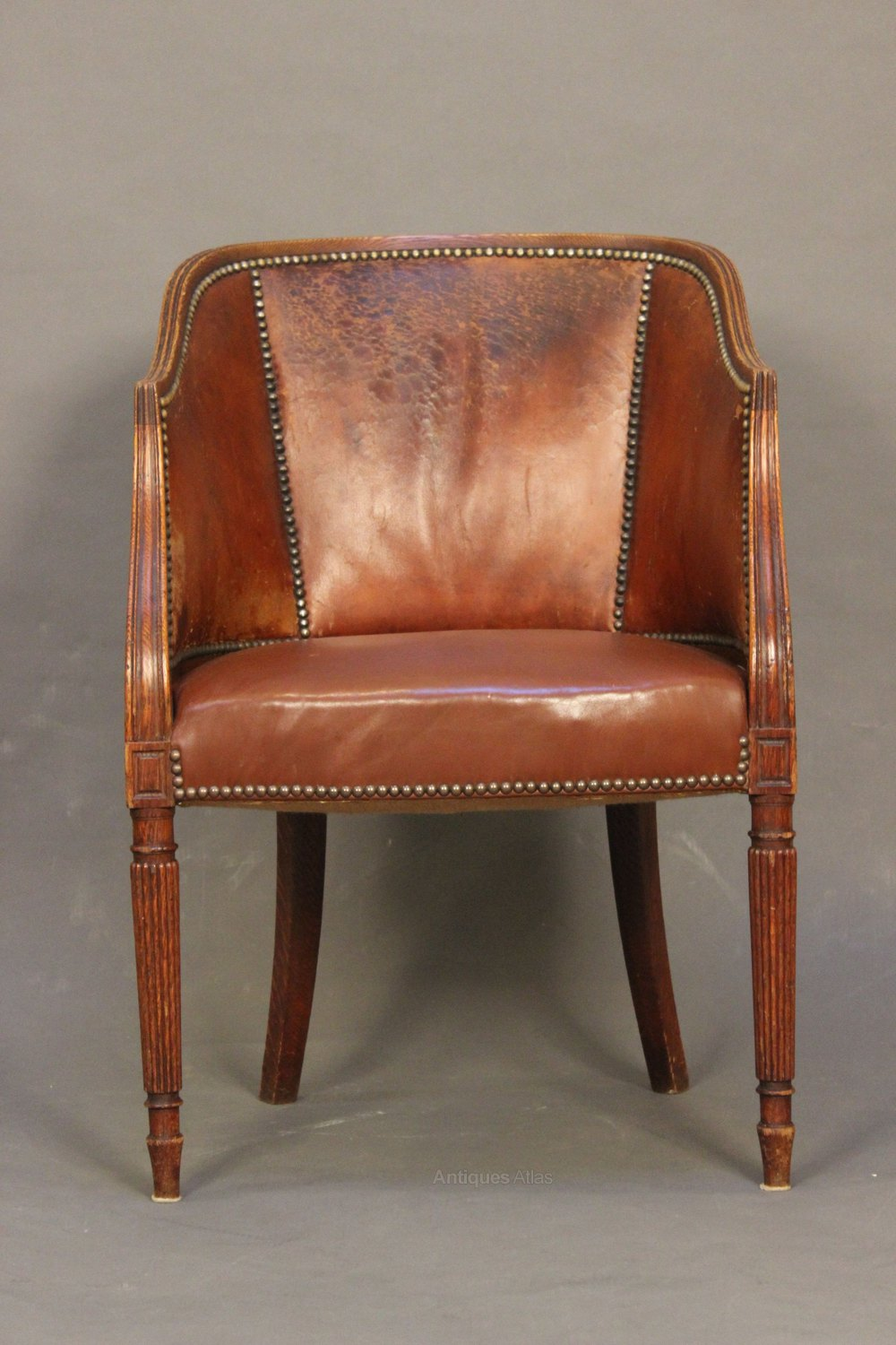 Antique tub chairs -  Leather Antique Tub Chairs