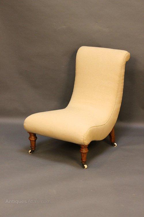 19thc Walnut Slipper Nursing Chair Antique Nursing Chairs - 19thc Walnut Slipper Nursing Chair - Antiques Atlas