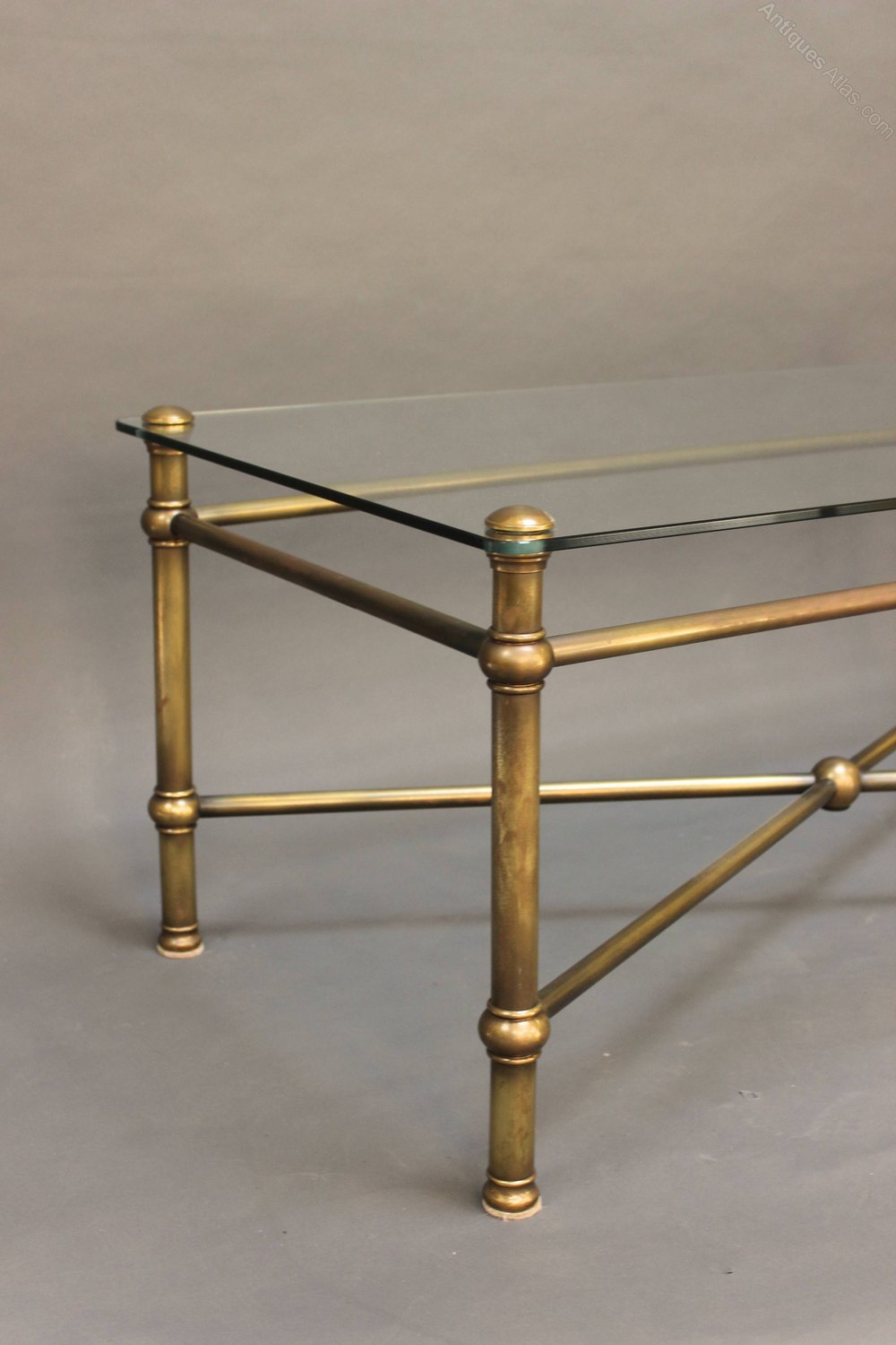 20thc glass and brass coffee table antiques atlas for Brass and glass coffee table