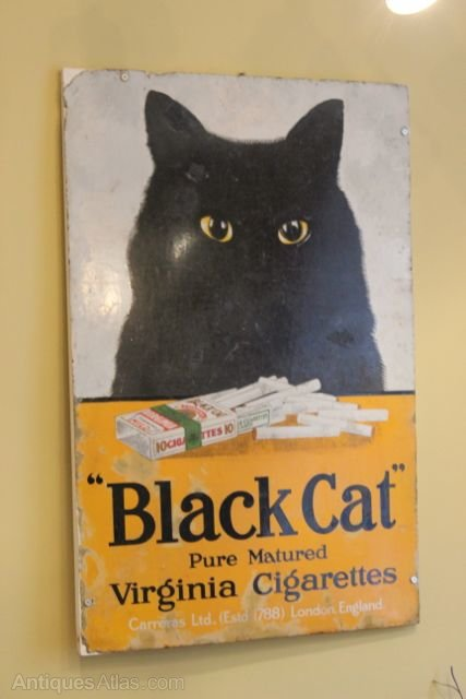 Black Cat Cigarettes Enamel Sign