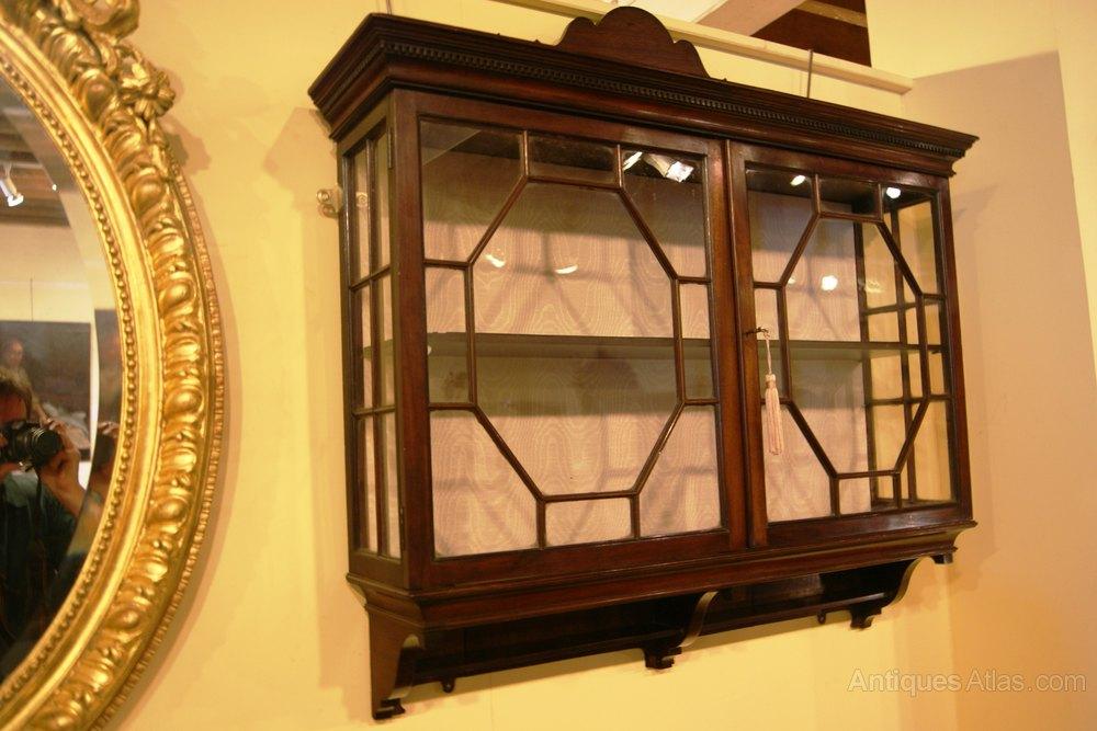 Pr Of Edwardian Mahogany Wall Hanging Display Cabinets - Antiques ...