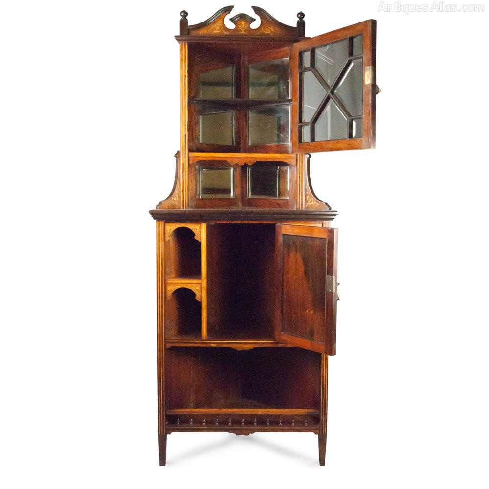 Victorian Rosewood Amp Inlaid Corner Cabinet Antiques Atlas