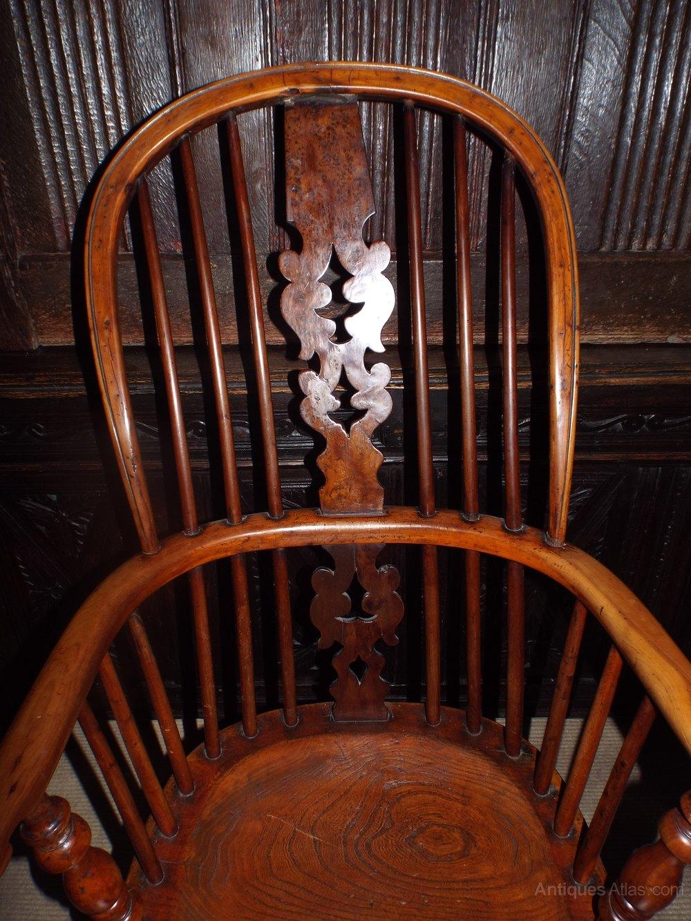 Fine 19thc Yew Wood High Back Windsor Chair C1860