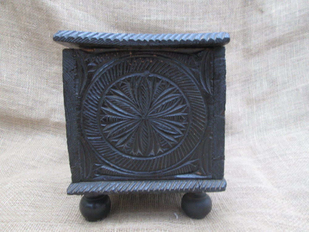 Th century welsh chip carved miniature coffer antiques