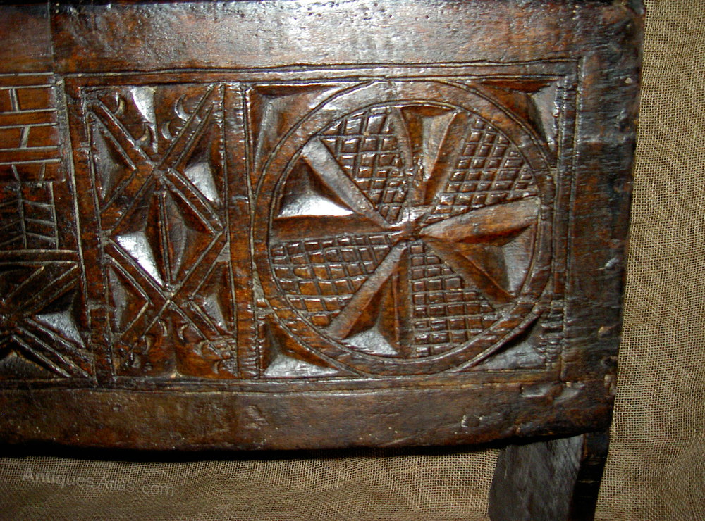 Very rare medieval chip carved oak boarded chest