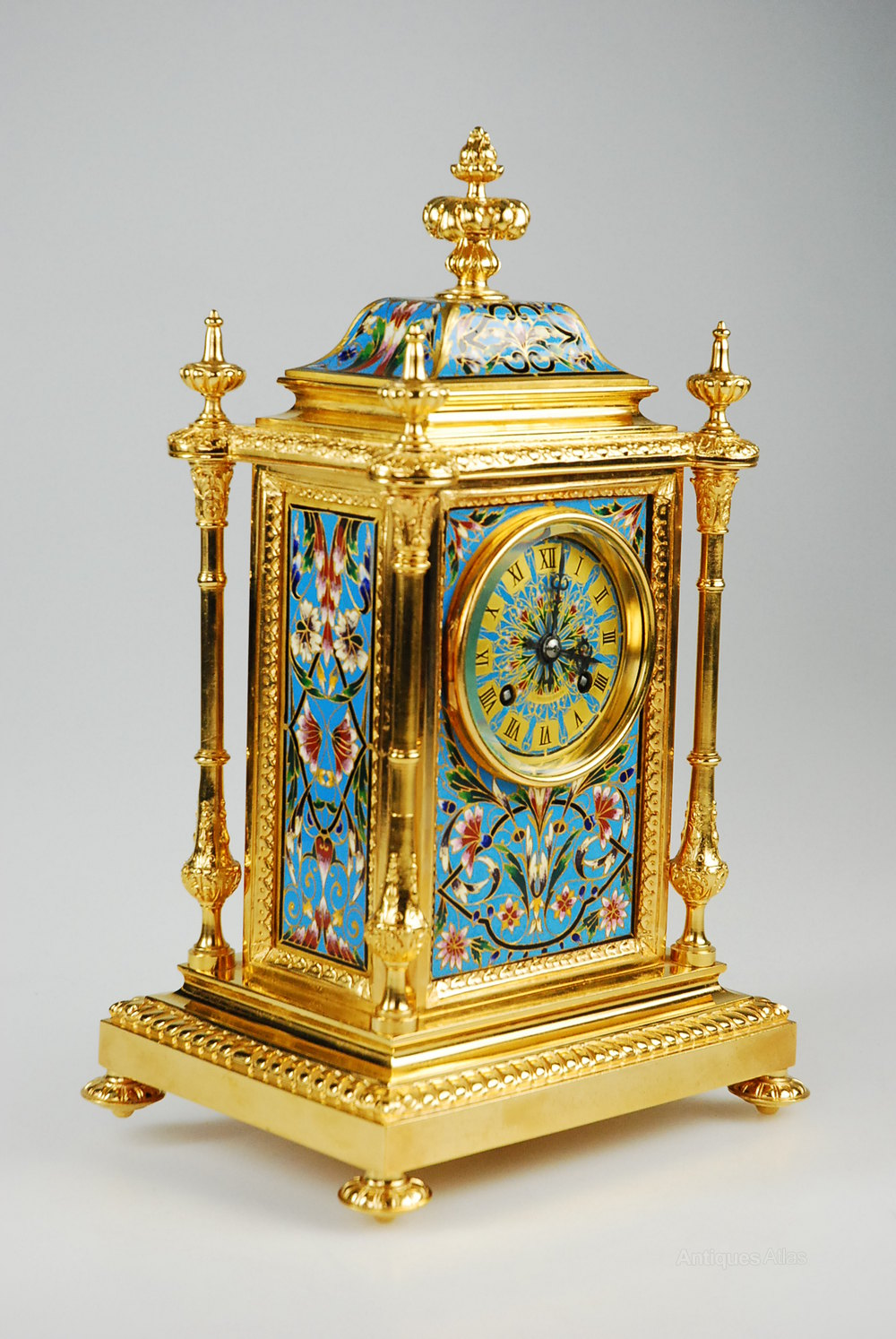Antiques Atlas - Antique Champleve Enamel Mantel Clock