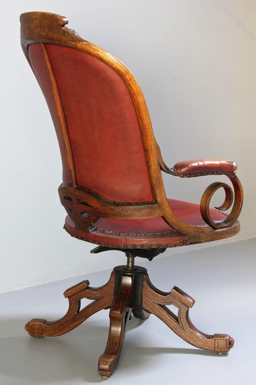Antique oak swivel desk chair antiques atlas for Antique office chair